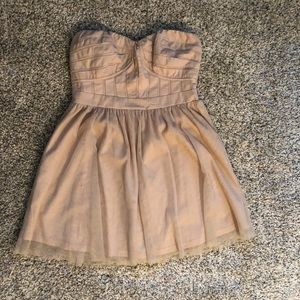 Tan strapless baby doll dress from BCBG Generation